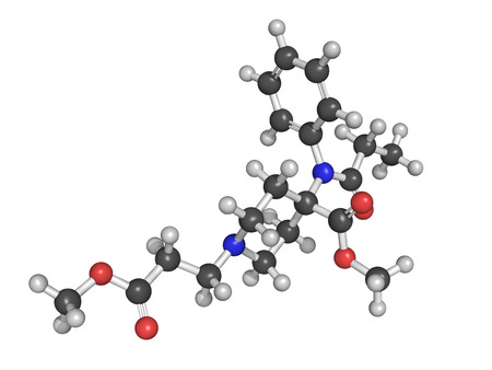analgesic: Chemical structure of remifentanil, a potent ultra short-acting synthetic opioid analgesic drug.  It is given to patients during surgery to relieve pain and as an adjunct to an anaesthetic.