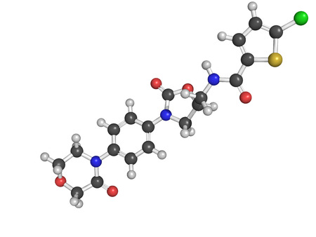 anticoagulant: Estructura qu�mica de la droga anticoagulante Rivaroxaban (inhibidor directo del factor Xa)
