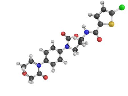 factor: Chemical structure of Rivaroxaban anticoagulant drug (direct factor Xa inhibitor)