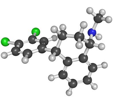 inhibitor: Chemical structure of sertaline, an antidepressant of the selective serotonin reuptake inhibitor