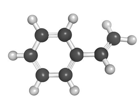 Chemical structure of styrene (vinyl benzene), polystyrene (PS) plastic building block.  Stock Photo