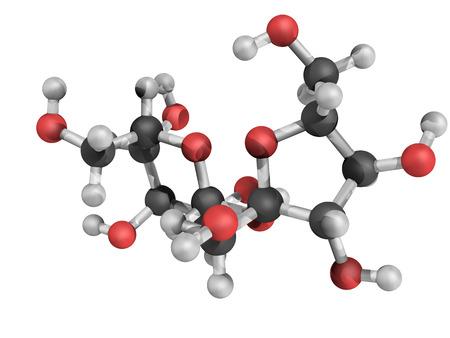 Estructura química de la sacarosa, también conocida como azúcar de mesa y sacarosa