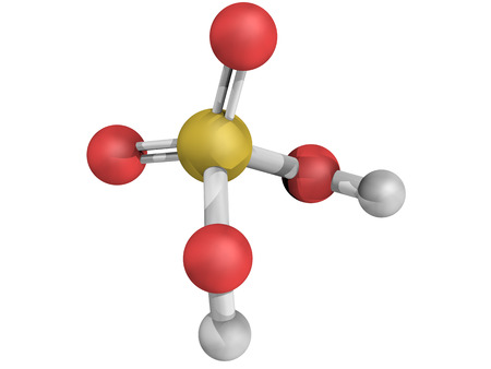 acid rain: Chemical structure of sulfuric acid (H2SO4, oil of vitriol) molecule. H2SO4 is a highly corrosive strong mineral acid. It is used as an electrolyte in lead-acid car batteries.