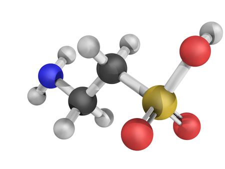 Chemical structure of a Taurine molecule, which is a common ingredient of energy drinks. Stock Photo