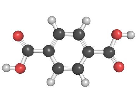monomer: Estructura qu�mica del �cido tereft�lico, poli�ster (PET, tereftalato de polietileno) bloque de construcci�n de pl�stico Foto de archivo