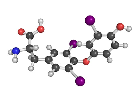 hypothyroidism: Chemical structure of a triiodothyronine (T3) molecule, thyroid hormone that affects growth and development, metabolism, body temperature, and heart rate.