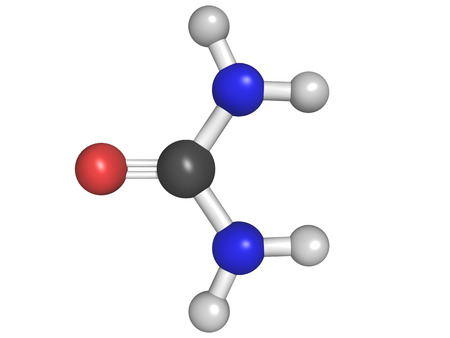 urea: Chemical structure of an urea (carbamide) molecule, chemical structure. Urea is used as a fertilizer and in many skin care products. Stock Photo