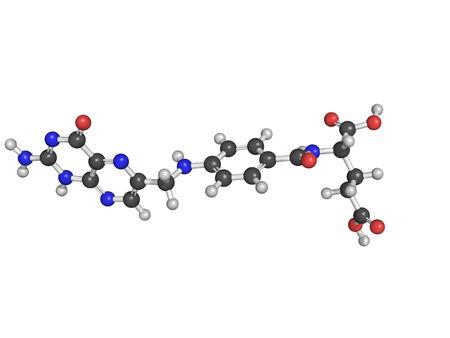 biotin: Chemical structure of Vitamin B9, folic acid, on the white background Stock Photo