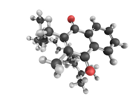 coagulation: Chemical structure of Vitamin K1 (phylloquinone) on white