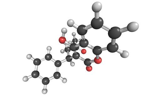 anticoagulant: Estructura qu�mica de la warfarina, un f�rmacos anticoagulantes. Se utiliza en la prevenci�n de la trombosis y la tromboembolia