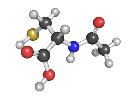 Acetylcysteine (NAC) mucolytic drug, chemical structure. Used to treat paracetamol overdose, Atoms are represented as spheres with conventional color coding Stock Photo - 23152985