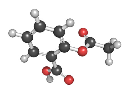 Acetylsalicylic acid (aspirin) pain relief drug molecule, chemical structure. Aspirin is a drug that is used for its pain relieving, fever reducing and anti-inflammatory properties.