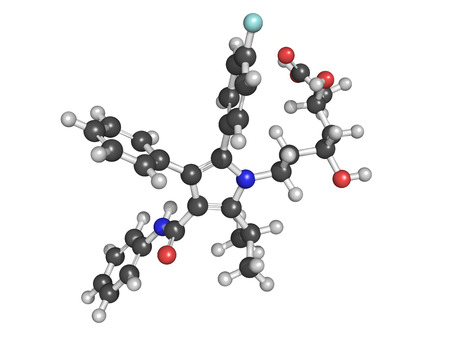 Atorvastatin cholesterol lowering drug (statin class), chemical structure. Atoms are represented as spheres with conventional color coding photo