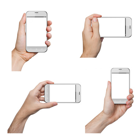 Isolated male hands holding a white phone in different ways photo