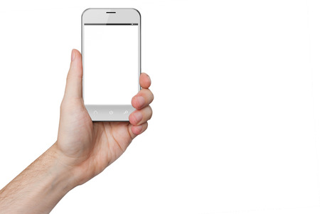 isolated male hand holding a white phone with isolated screen photo