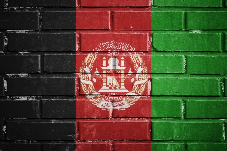 afghanistan flag: Afghanistan flag on the brick wall