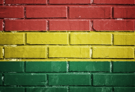 A Bolivian flag on the brick wall photo