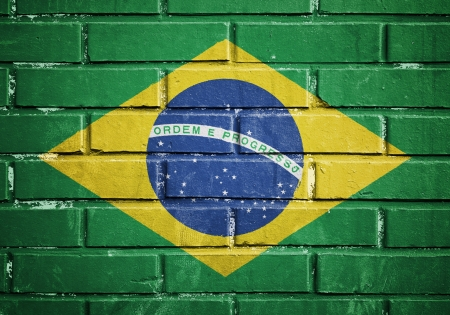 Brazil flag on the brick wall photo