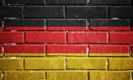 Germany flag on texture brick wall photo