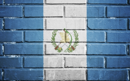 Guatemala flag on texture brick wall photo