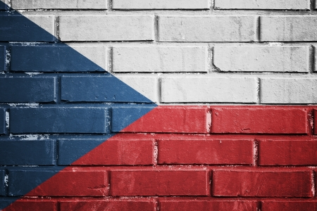 Czech Republic flag on the brick wall photo