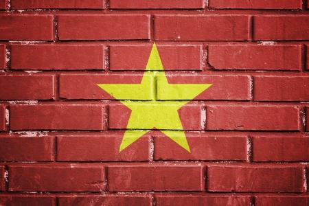 Vietnam flag on the brick wall photo
