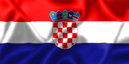 Croatia flag blowing in the wind. Background texture. photo