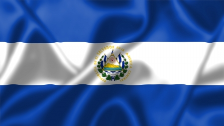 El Salvador flag blowing in the wind. Background texture. photo