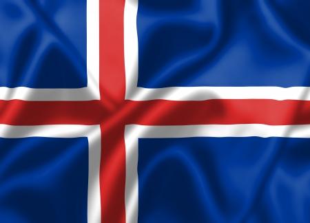 flag of iceland: Bandera de Islandia sopla en el viento. Textura de fondo. Foto de archivo