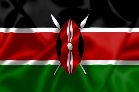 kenya: Kenya flag blowing in the wind. Background texture.
