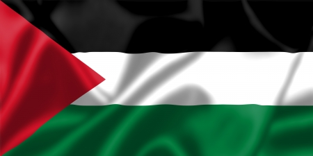 Palestine flag blowing in the wind. Background texture. photo