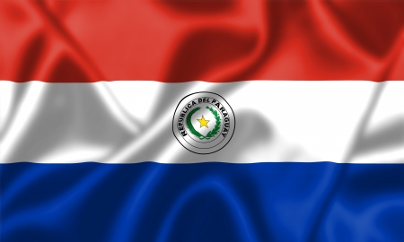 bandera de paraguay: Bandera de Paraguay ondeando al viento. Textura de fondo.