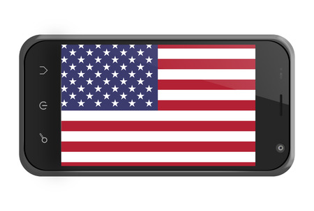 United States flag on smartphone screen isolated on white photo