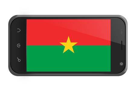 burkina faso: Burkina Faso flag on smartphone screen isolated on white