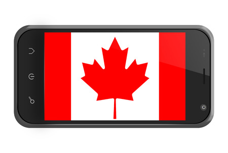 Canada flag on smartphone screen isolated on white photo