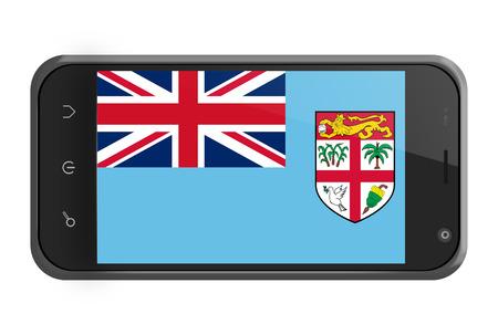 fiji: Fiji flag on smartphone screen isolated on white