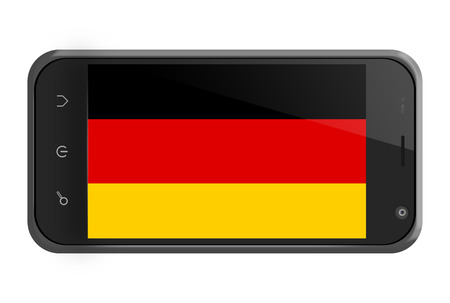 Germany flag on smartphone screen isolated on white photo