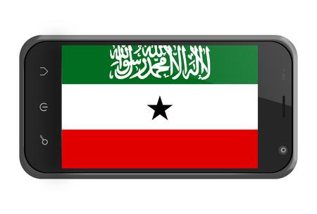 somaliland: Somaliland flag on smartphone screen isolated on white