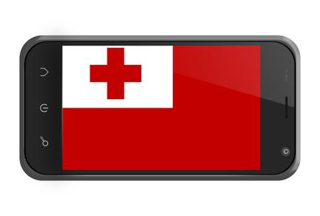 tonga: Tonga flag on smartphone screen isolated on white Stock Photo
