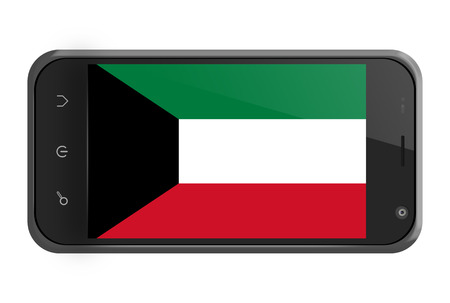 Kuwait flag on smartphone screen isolated on white photo