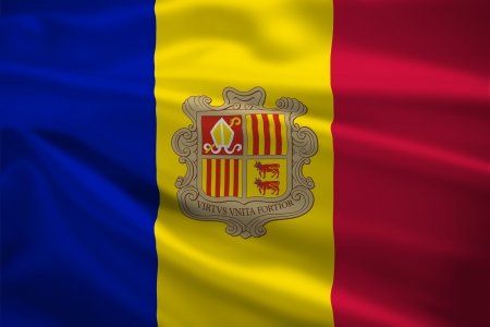 Andorra flag blowing in the wind. Background texture. photo