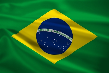 Brazil flag blowing in the wind. Background texture. photo