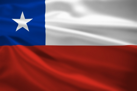 De vlag die van Chili in de wind blaast. Achtergrond textuur.