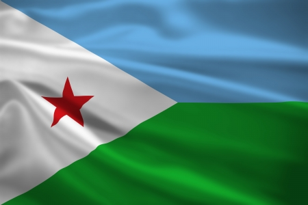 Djibouti flag blowing in the wind. Background texture. photo