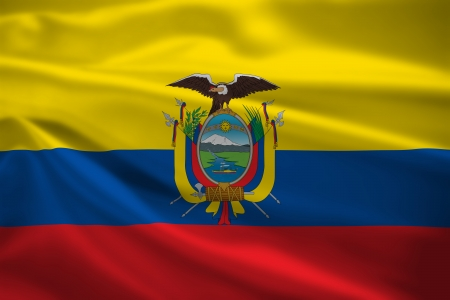Ecuador flag blowing in the wind. Background texture. photo