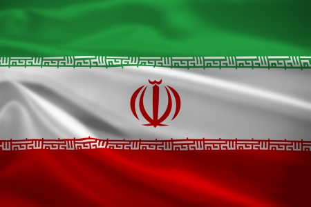 Iran flag blowing in the wind. Background texture. photo
