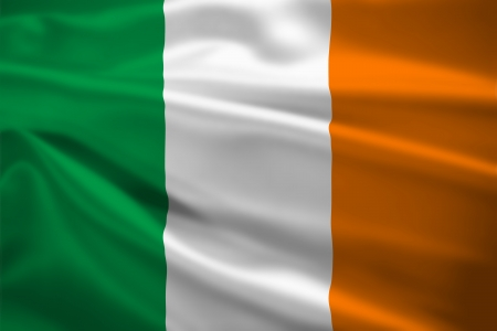 Ireland flag blowing in the wind. Background texture.