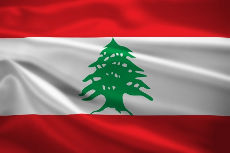 Lebanon flag blowing in the wind. Background texture. photo