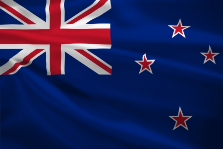 New Zealand flag blowing in the wind. Background texture. photo