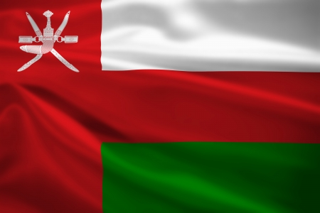 oman background: Oman flag blowing in the wind. Background texture.